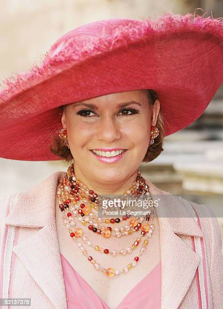 Grand Duchess Maria Teresa the Duchess of Luxembourg leaves the Cathedral of Luxembourg after attending a TeDeum as part of National day celebrations...