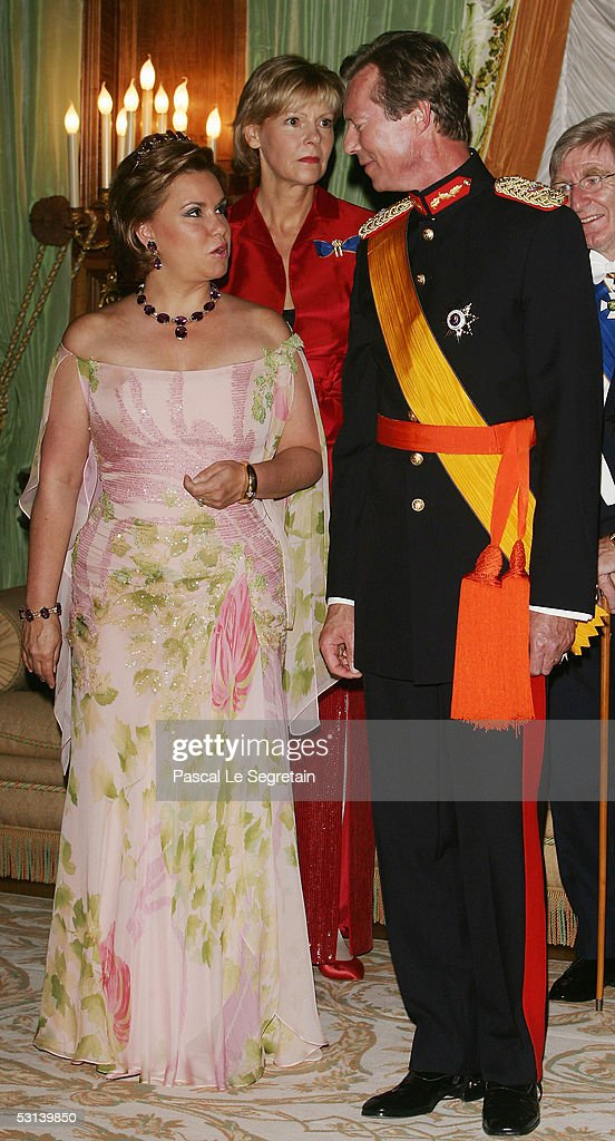 Grand Duchess Maria Theresa and Grand Duke Henri of Luxembourg attend a dinner at the Grand Ducal Palace as part of National Day celebrations June 23, 2005 in Luxembourg.