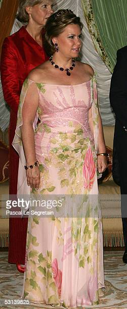 Grand Duchess Maria Theresa poses during a dinner at the Grand Ducal Palace as part of National Day celebrations June 23 2005 in Luxembourg