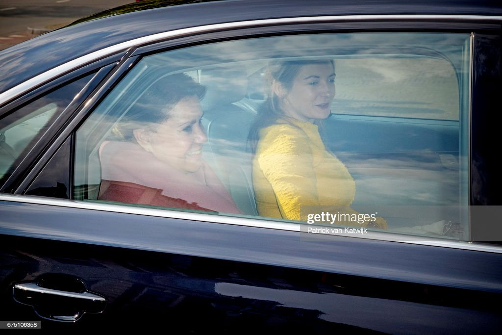 Grand Duchess MariaTeresa and Hereditary Grand Duhcess Stephanie of Luxembourg for an private birthday party for King Willem-Alexander in the Royal Stables on April 29, 2017 in The Hague, Netherlands.