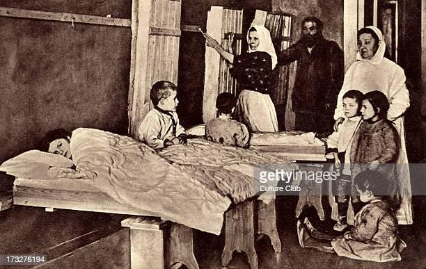 Grand Duchess Tatiana Nikolaevna of Russia volunteering at a refugee settlement during World War 1 March 1916 Second daughter of Tsar Nicholas II of...