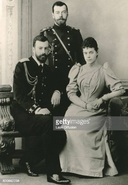 Grand Duchess Xenia Alexandrovna of Russia with her husband Grand Duke Alexander Mikhailovich and her brother Tsar Nicholas II 1897