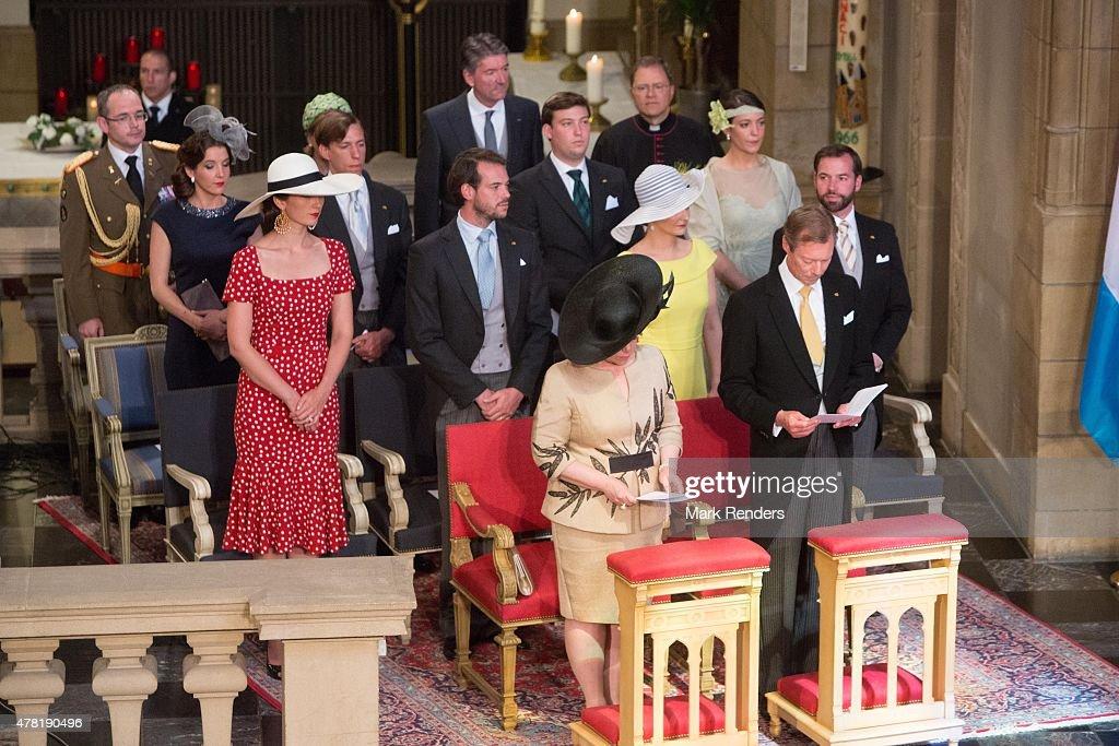 Grand Duchesse Maria Teresa, Grand Duke Henri, Princess Claire, Prince Felix, Princess Stephanie, Prince Guillome, Princess Terry, Prince Felix, Prince Sebastien, Princess Alexandra of Luxembourg attend National Day on June 23, 2015 in Luxembourg, Luxembourg.
