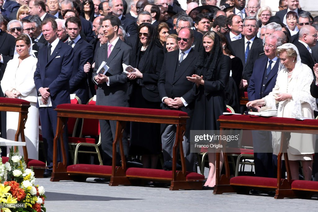 Grand Duke Henri and Duchess Maria Teresa of Luxembourg with their son Prince Felix, Prince Albert II of Monaco and Princess Charlene, Albert II of Belgium and Queen Paola of Belgium attend the Inauguration Mass of Pope Francis in St. Peter's Square for his Inauguration Mass on March 19, 2013 in Vatican City, Vatican. The inauguration of Pope Francis is being held in front of an expected crowd of up to one million pilgrims and faithful who have crowded into St Peter's Square and the surrounding streets to see the former Cardinal of Buenos Aires officially take up his position. Pope Francis' inauguration takes place in front his cardinals, spiritual leaders as well as heads of states from around the world and he will now lead an estimated 1.3 billion Catholics.