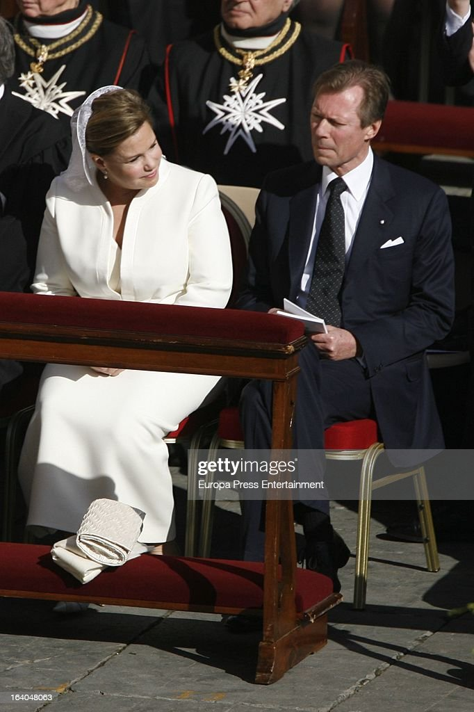 Grand Duke Henri (R) and Grand Duchess Maria Teresa of Luxembourg (L) attend the Inauguration Mass of Pope Francis in St. Peter's Square for his Inauguration Mass on March 19, 2013 in Vatican City, Vatican. The inauguration of Pope Francis is being held in front of an expected crowd of up to one million pilgrims and faithful who have crowded into St Peter's Square and the surrounding streets to see the former Cardinal of Buenos Aires officially take up his position. Pope Francis' inauguration takes place in front his cardinals, spiritual leaders as well as heads of states from around the world and he will now lead an estimated 1.3 billion Catholics.