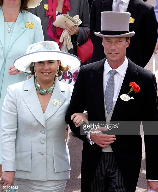 Grand Duke Henri And Grand Duchess Maria Teresa Of Luxembourg Walking Arm In Arm At Royal Ascot Races He Is Wearing Traditional Top Hat And Tails