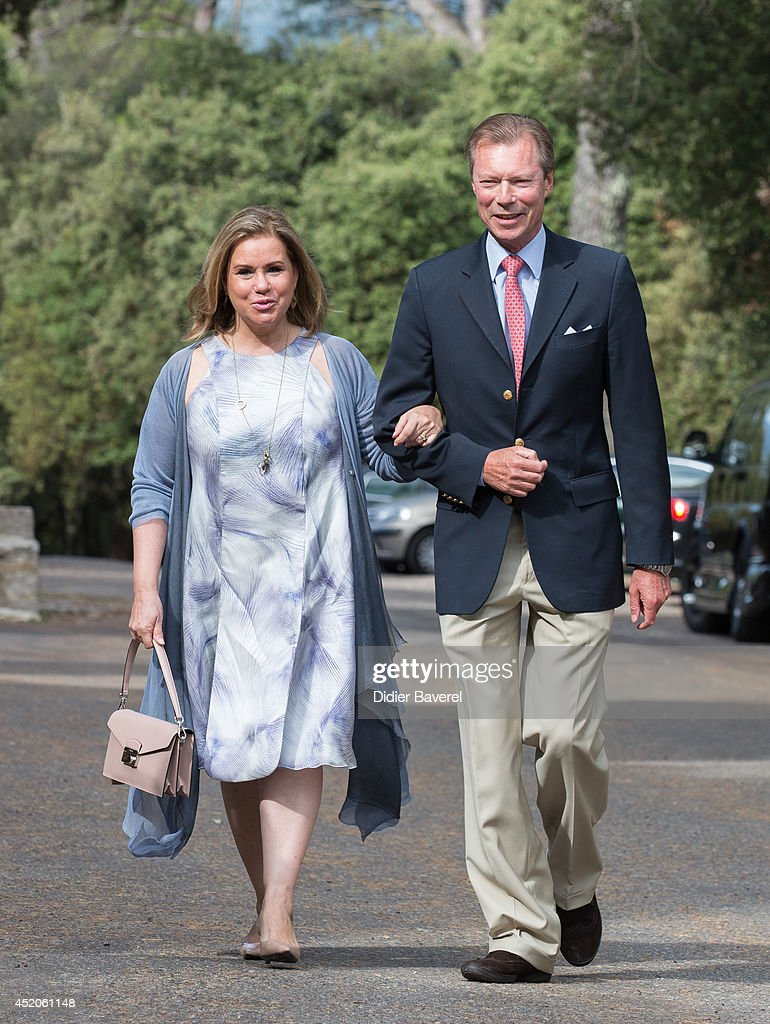 Grand Duke Henri and Grand Duchess Maria-Teresa of Luxembourg arrive for the baptism ceremony of Princess Amalia at the Saint Ferreol Chapel in Lorgues on July 12, 2014 in Lorgues, France.