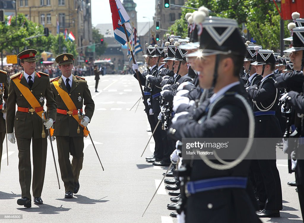 Grand Duke Henri and Prince Guillaume from Luxembourg assist the military Parade on National Day on June 23, 2009 in Luxembourg, Luxembourg.