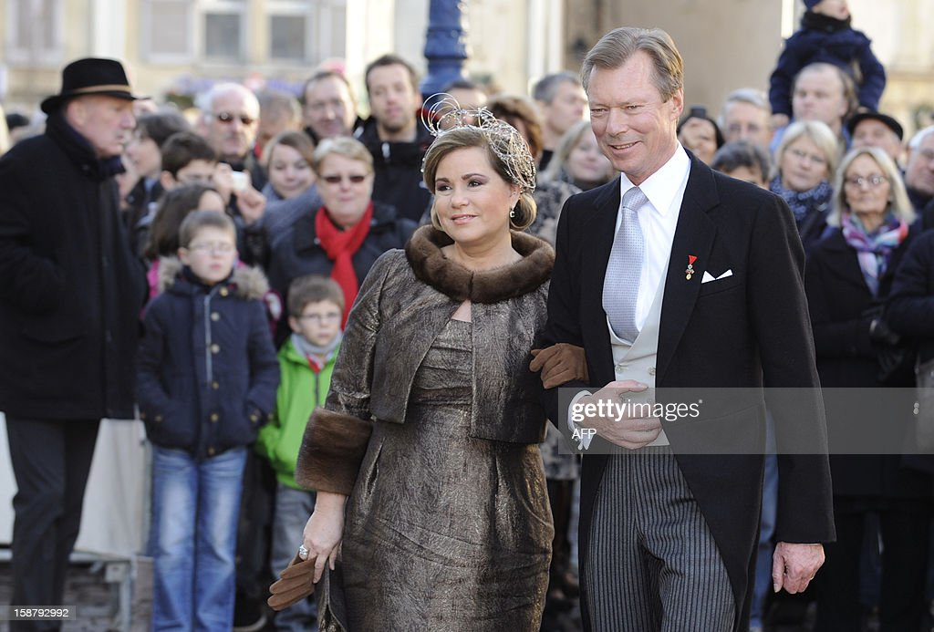 Grand Duke Henri of Luxembourg and Grand Duchess Maria Teresa of Luxembourg arrive at the Saint Epvre Basilica before the wedding of Archduke of Austria Christoph of Habsbourg of Austria with Adelaide Drape-Frisch, on December 29, 2012 in Nancy.