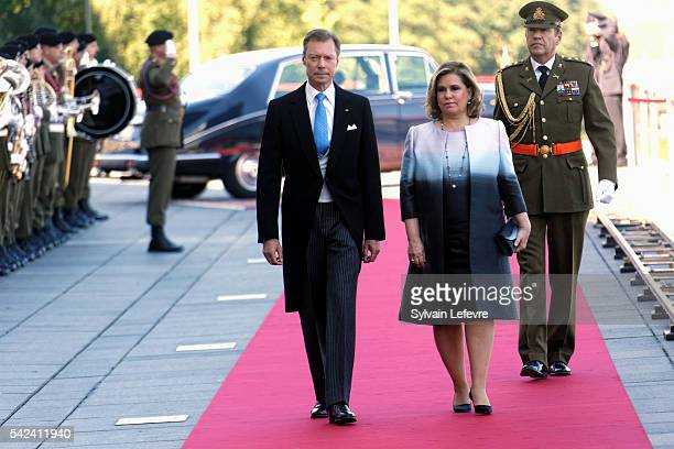 Grand Duke Henri of Luxembourg and Grand Duchess Maria Teresa of Luxembourg celebrate National Day at Philarmonie on June 22 2016 in Luxembourg...