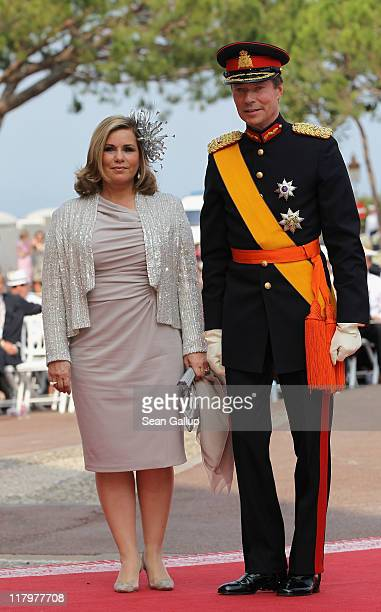 Grand Duke Henri of Luxembourg and Grand Duchess MariaTeresa of Luxembourg attend the religious ceremony of the Royal Wedding of Prince Albert II of...