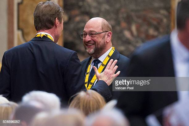 Grand Duke Henri of Luxembourg and President of the European Parliament Martin Schulz attend the Charlemagne Prize of Aachen ceremony at the Reggia...