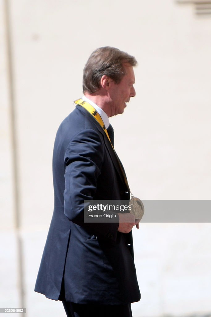 Grand Duke Henri of Luxembourg arrives at the Apostolic Palace for Pope Francis' International Charlemagne Prize of Aachen awarding ceremony on May 6, 2016 in Vatican City, Vatican. The International Charlemagne Prize of Aachen is the oldest and best-known prize awarded for work done in the service of European unification.