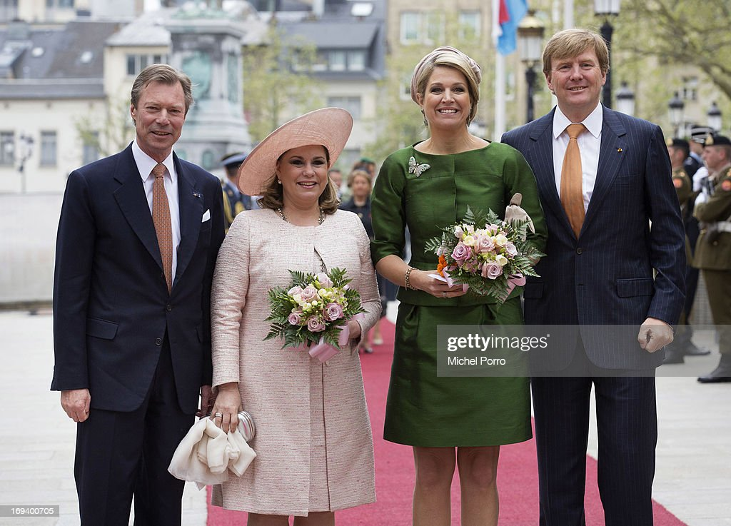 Grand Duke Henri of Luxembourg, Grand Duchess Maria Teresa of Luxembourg, Queen Maxima of The Netherlands and King Willem Alexander of The Netherlands are seen as the King and Queen arrive at the Grand Palace of The Dukes during the start of their one day visit to Luxembourg on May 24, 2013 in Luxembourg, Luxembourg.
