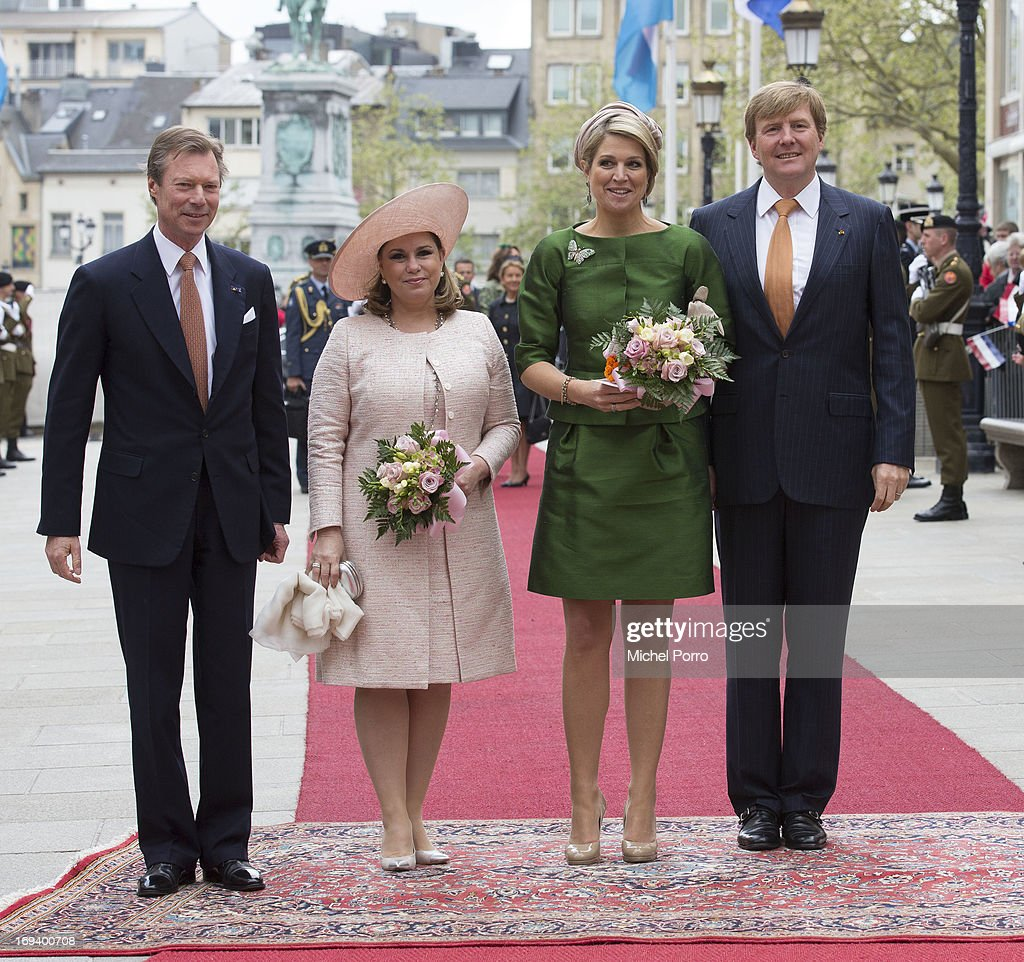 Grand Duke Henri of Luxembourg, <a gi-track='captionPersonalityLinkClicked' href=/galleries/search?phrase=Grand+Duchess+Maria+Teresa&family=editorial&specificpeople=159000 ng-click='$event.stopPropagation()'>Grand Duchess Maria Teresa</a> of Luxembourg, Queen Maxima of The Netherlands and King Willem Alexander of The Netherlands are seen as the King and Queen arrive at the Grand Palace of The Dukes during the start of their one day visit to Luxembourg on May 24, 2013 in Luxembourg, Luxembourg.