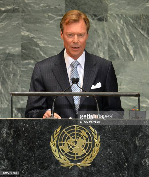 Grand Duke Henri of Luxembourg speaks during the 67th session of the United Nations General Assembly September 26 2012 at UN headquarters in New York...
