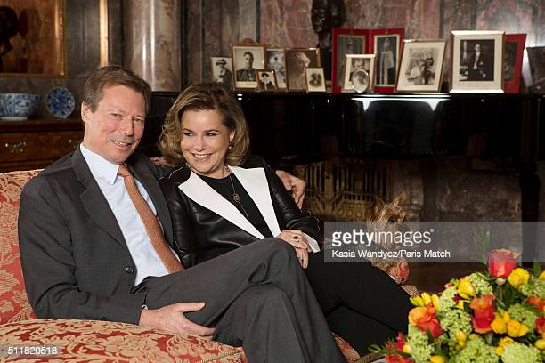 Grand Duke Henri of Luxembourg with his wife Maria Teresa are photographed for Paris Match on February 10 2016 in Colmarberg castle Luxembourg