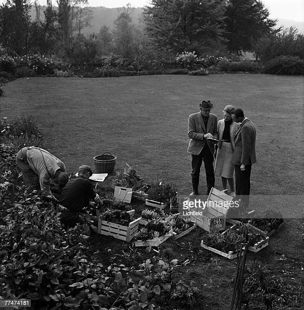 HRH Grand Duke Jean and HRH Grand Duchess JosephineCharlotte of Luxembourg with their gardeners at home in the grounds of the Grand Ducal Palace on...