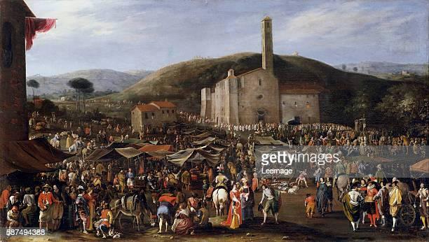 Grand Duke of Tuscany Cosimo II de Medicis visiting the Impruneta fair in San Luca near Florence Painting by Filippo Napoletano ca 1620 Palazzo Pitti...