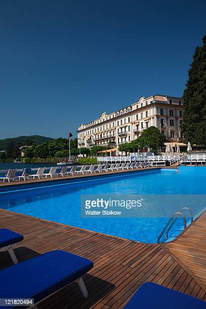 Grand Hotel Villa D'Este from swimming pool, Cernobbio, Lake Como, Lakes Region, Milan, Lombardy, Italy