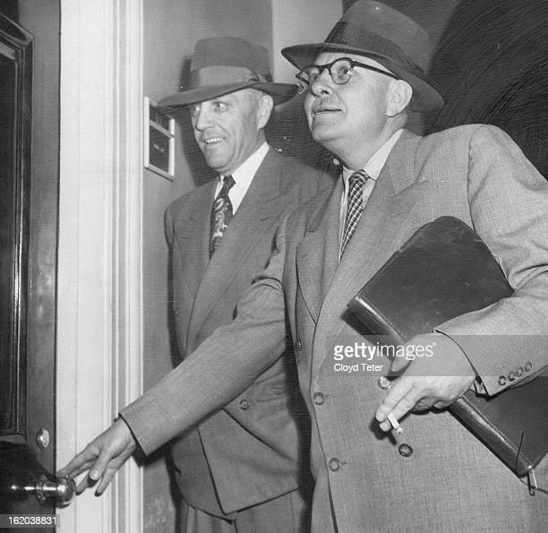 APR 4 1952 Grand Jury witnesses Entering the federal grand jury room Thursday to testify are Earl Schoel Denver secret service chief and Gene Lowall...