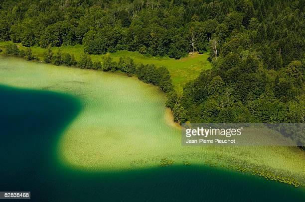 Grand Maclu lake aerial Jura France
