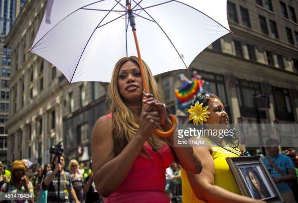 Grand Marshal Laverne Cox and Delores Nettles mother of slain transgender woman Islan Nettles attend the 2014 Gay Pride March on June 29 2014 in New...