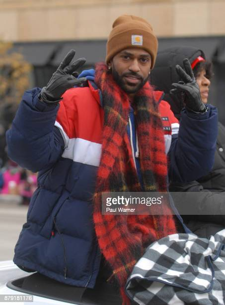 Grand Marshall Big Sean rides down Woodward Avenue during the 91st America's Thanksgivings Day Parade on November 23 2017 in Detroit Michigan
