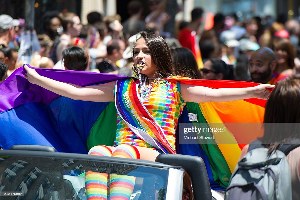 Grand Marshall <a gi-track='captionPersonalityLinkClicked' href=/galleries/search?phrase=Jazz+Jennings&family=editorial&specificpeople=10847905 ng-click='$event.stopPropagation()'>Jazz Jennings</a> attends the 2016 Pride March on June 26, 2016 in New York City.