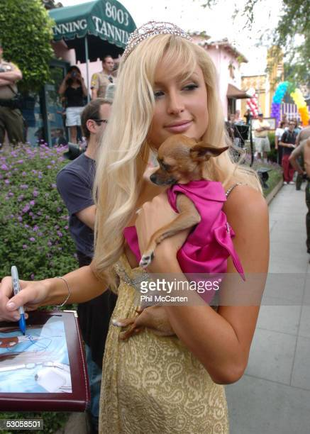 Grand Marshall Paris Hilton signs an autograph at the 2005 West Hollywood Gay Pride Parade June 12 2005 in Los Angeles California