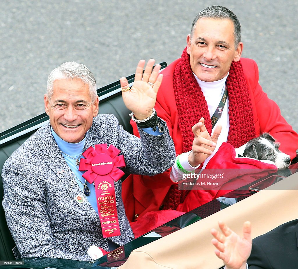 Grand Marshall/Olympian Greg Louganis waves to the crowd during the 2017 Tournament of Roses Parade on the parade route on January 2, 2017 in Pasadena, California.