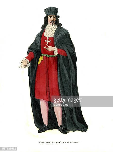 Grand Master of the Knights Hospitaller / Grand master of the Knights of the order of Malta Hand coloured engraving c 1847 version based on 14th...