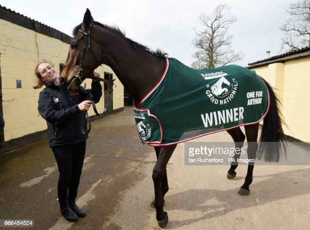 Grand National winner One For Arthur is paraded by stable girl Jaimie Duff at trainer Lucinda Russell's yard in Kinross Scotland
