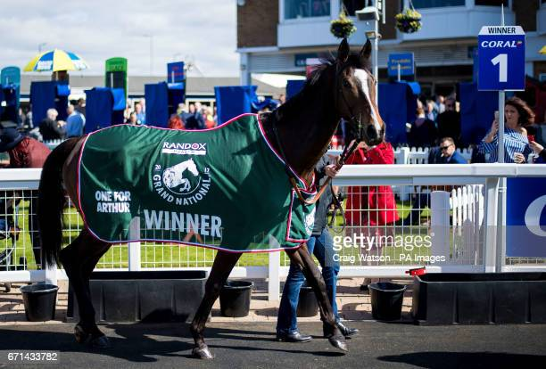 Grand National Winner One for Arthur is paraded during Coral Scottish Grand National Day at Ayr Racecourse