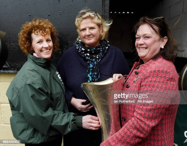 Grand National winner One For Arthur's owners Balinda McClung and Debbs Thomson pictured with trainer Balinda Russell at Russell's yard in Kinross...