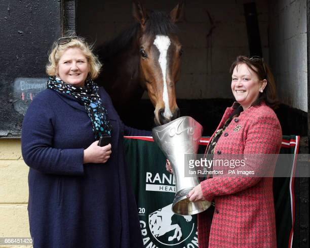 Grand National winner One For Arthur's owners Balinda McClung and Debbs Thomson pictured with One for Arthur at Lucinda Russell's yard in Kinross...