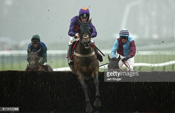 Grand National winning jocky Leighton Aspell rides Gas Line Boy in the Betfred Grand National Trial at Haydock racecourse on February 20 2016 in...