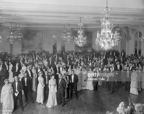 A grand naval function in the new ballroom at the Savoy hotel in London