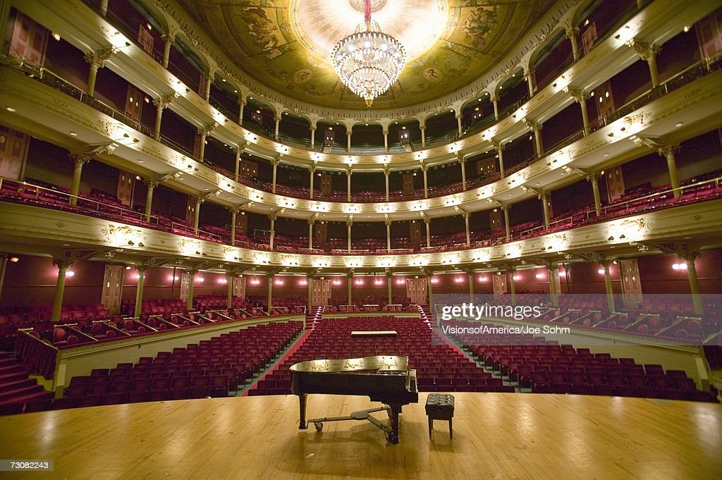 Grand Old Lady of Broad Street, a 1857 built Opera stage with Grand Piano at the Opera Company of Philadelphia at the Academy of Music, Philadelphia PA