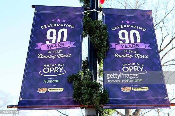 A 'Grand Ole Opry' banner flies on the grounds of the Grand Ole Opry House on January 2 2016 in Nashville Tennessee