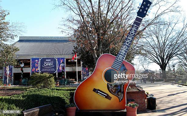 A 'Grand Ole Opry' guitar sits on the grounds of the Grand Ole Opry House on January 2 2016 in Nashville Tennessee