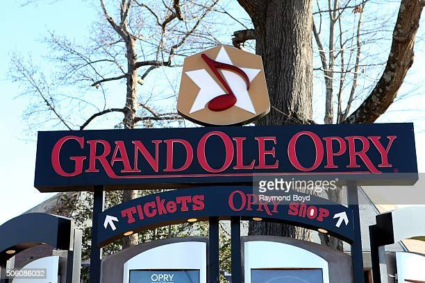 Grand Ole Opry information boards on the grounds of the Grand Ole Opry House on January 2 2016 in Nashville Tennessee