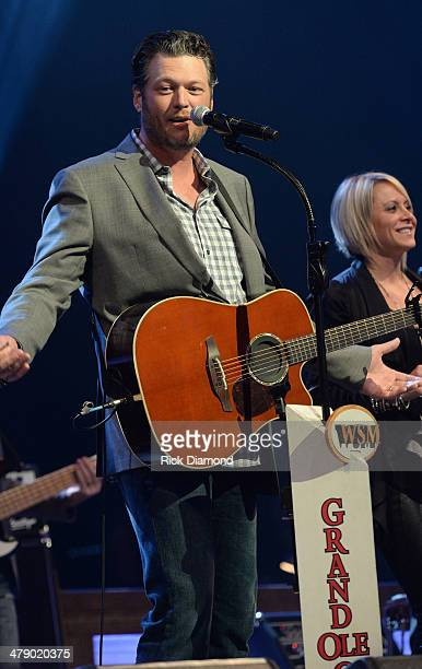 Grand Ole Opry Member Blake Shelton perform during the 40th Anniversary of The Grand Ole Opry House on March 15 2014 in Nashville Tennessee