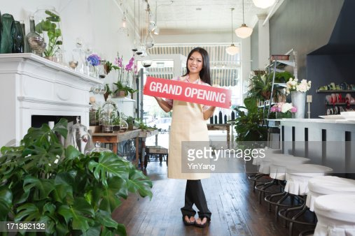 Grand Opening Ceremony for Asian Flower Shop Small Business Owner