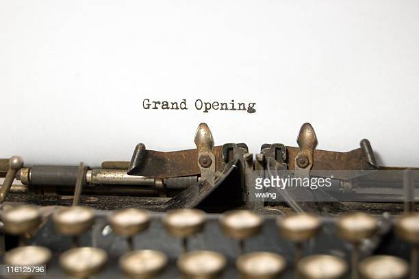Grand Opening on antique typewriter