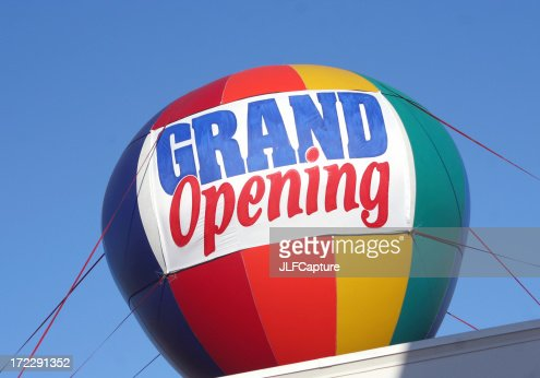 Grand Opening Sign - colorful hot air balloon