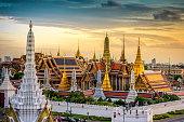Grand palace and Wat phra keaw at sunset