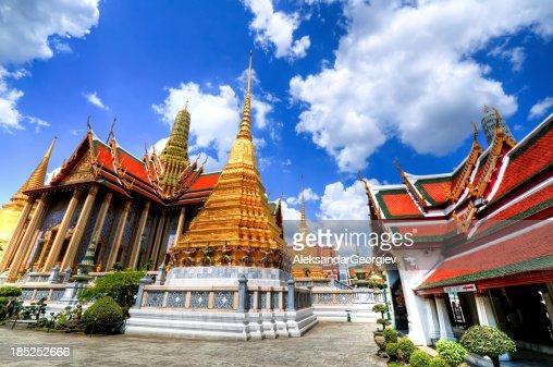 Grand Palace in Bangkok and Wat Phra Kaew Temple Interior