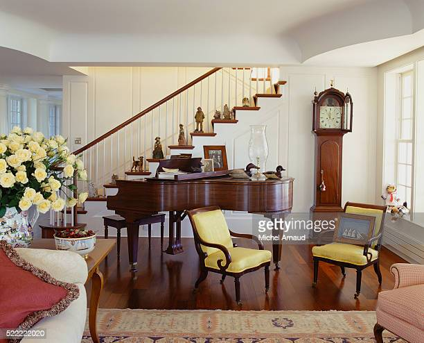 Grand Piano in Living Room by Staircase