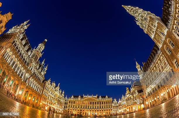 Grand Place at dusk panorama